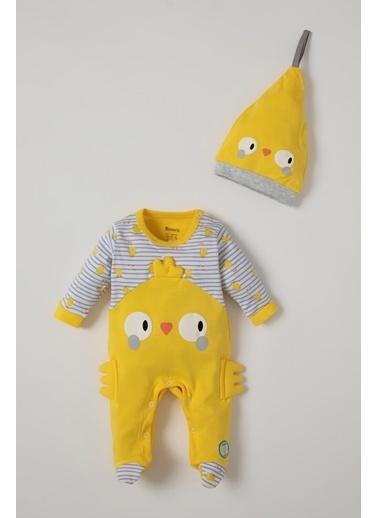 DeFacto Kız Bebek Civciv Baskılı Uzun Kol Tulum Ve Şapka Takımı Sarı